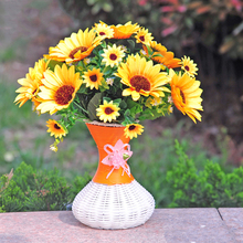 Silk Artificial Sunflowers Bouquet Wedding Decoration Floral for Home Garden Hotel Decor Real Touch Fake Flowers