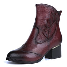 Botas de tornozelo casuais do vintage sapatos femininos de couro genuíno retro salto alto senhoras sapatos botas mujer martin botas femininas
