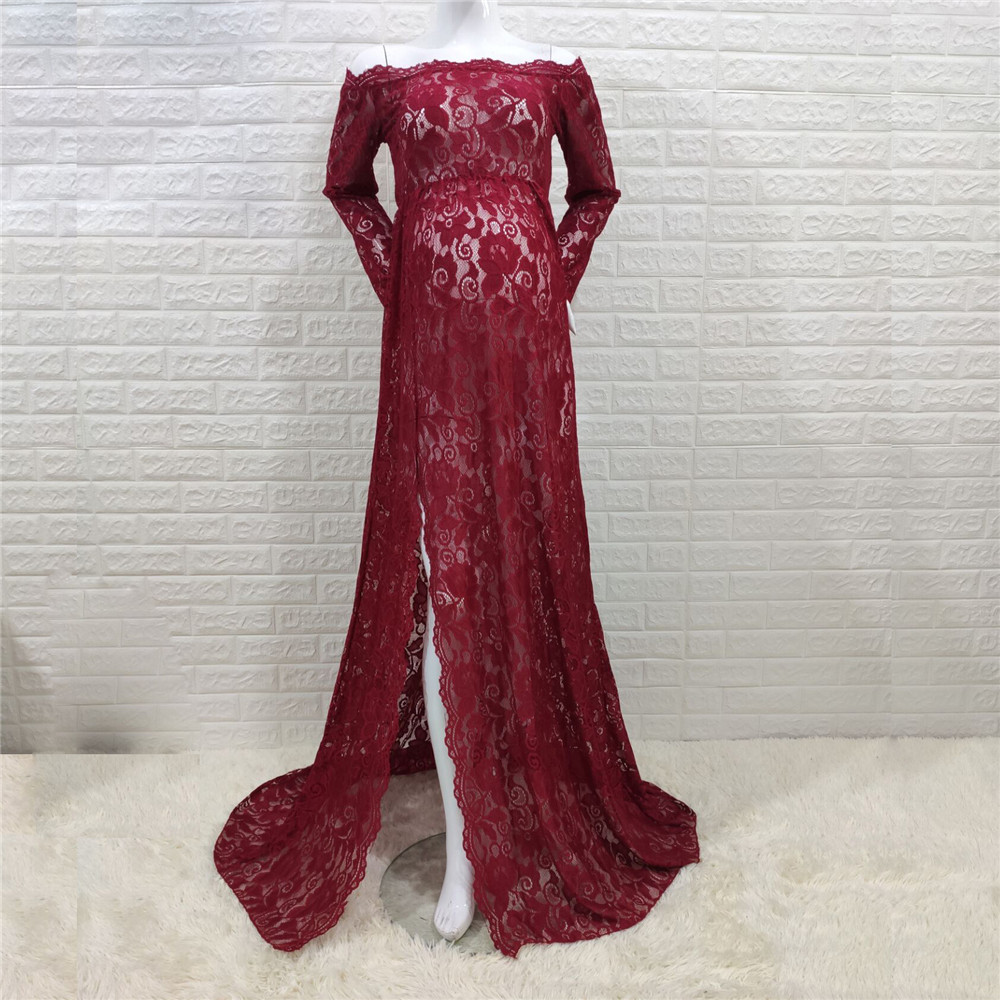 Sexy Shoulderless Maternity Dresses For Photo Shoot Lace Fancy Pregnancy Maxi Gown Baby Shower Pregnant Women Photography Props (10)