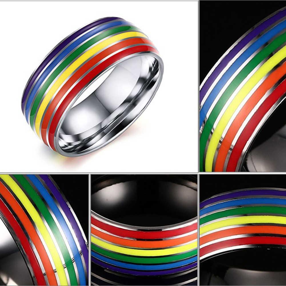 Rainbow Kleurrijke Diy Verklaring Ring Rvs Mannen Vrouwen Lesbische & Gay Paar Ringen Party Bruiloft Sieraden Christmas Gift