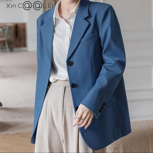 2021 Fashion Spring Autumn New Elegant Office Ladies Loose Single-breasted Blazer Women Solid Collar Suit Jackets Outwear Blue 2