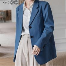 Suit Jackets Outwear Spring Blazer Women Office Loose Blue Fashion Single-Breasted Solid-Collar