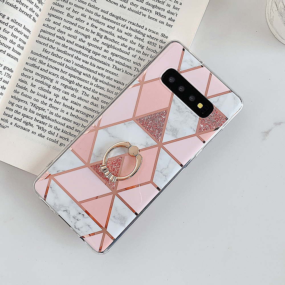 Electroplate Marble Phone Case For Samsung Galaxy S20 S10 Plus S9 A51 A71 A50 A20 Soft IMD Back Cover With Finger Ring