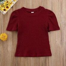 Pudcoco/детские трикотажные топы с короткими рукавами для маленьких девочек, однотонные классические футболки, комплект одежды