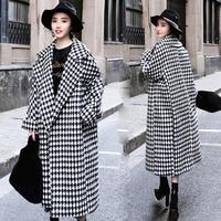 Winter Women Long Plaid Woolen Coat Female Houndstooth Coat