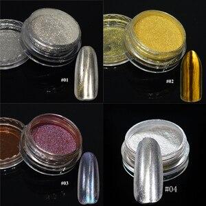 Image 3 - 1 pièces argent miroir magique Pigment poudre manucure poussière brillant Gel vernis à ongles Art paillettes Chrome poudre flocon décorations BE04S 1