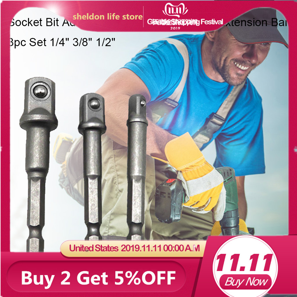 Drill Socket Adapter For Impact Driver With Hex Shank To Square Socket Drill Bits Bar Extension Set 1/4