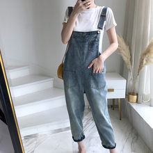 New Women Sleeveless Jeans Overalls Autumn Elegant Jumpsuits Romper Casual Vintage buckle Ladies Pants pocket Wide Leg Pants(China)