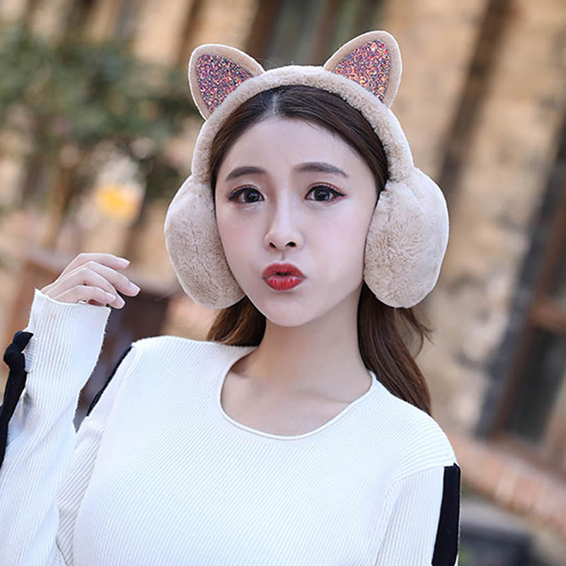 Calymel Christmas Winter Cartoon 3D Cat Earmuffs Plush Warm Women Ear Protect Sequined Shinny Soft Glitter Cute Earcap
