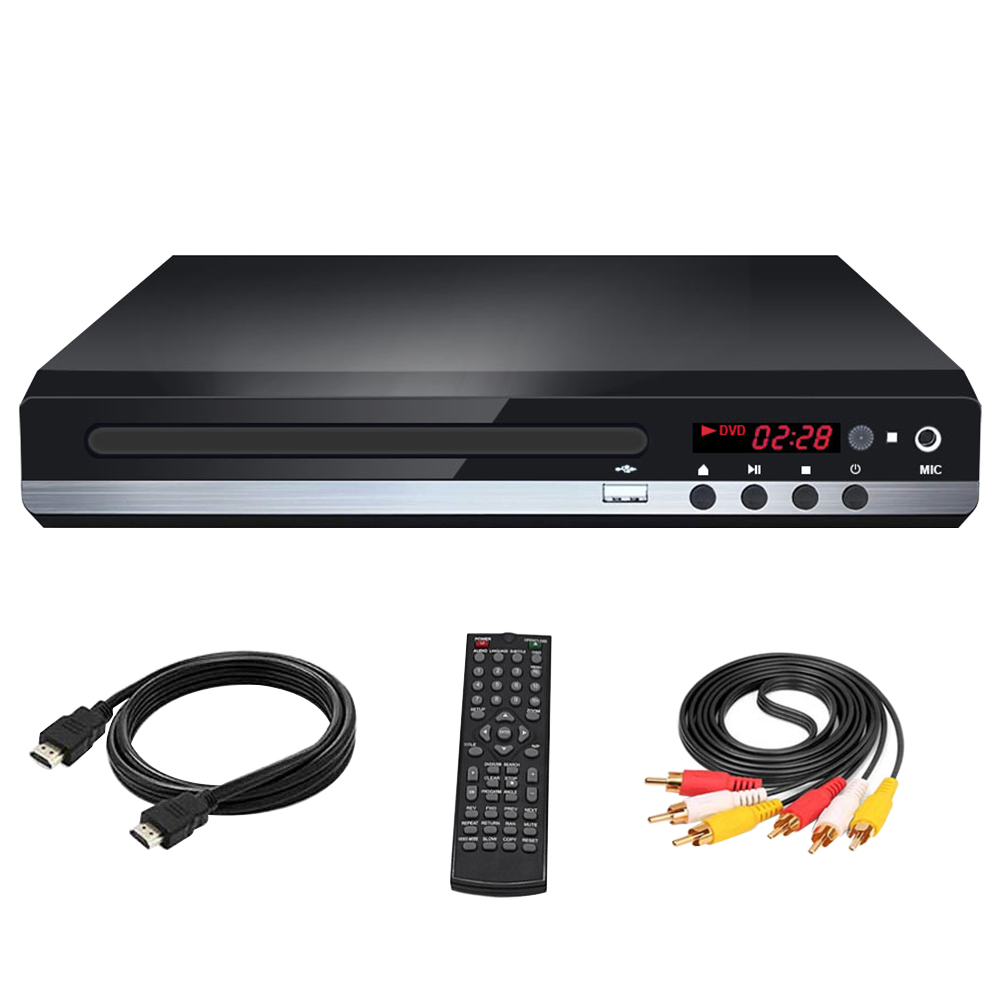 Multi Format Remote Control Easy Install MIC Input With Cable Metal DVD Player CD Home Portable VCD USB for  For TV US Plug
