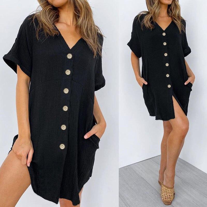 Celmia Women's Long Shirt Summer Sexy Mini Dress 2020 Fashion V Neck Short Sleeve Lady Casual Loose Pockets Button Down Vestidos
