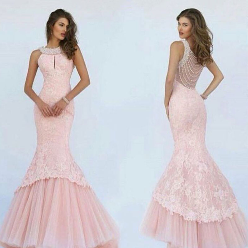 2018 Pink Mermaid Evening Gown Luxury Pearls Neck Sheer Back Vestido De Festa Lace Robe De Soiree Mother Of The Bride Dresses