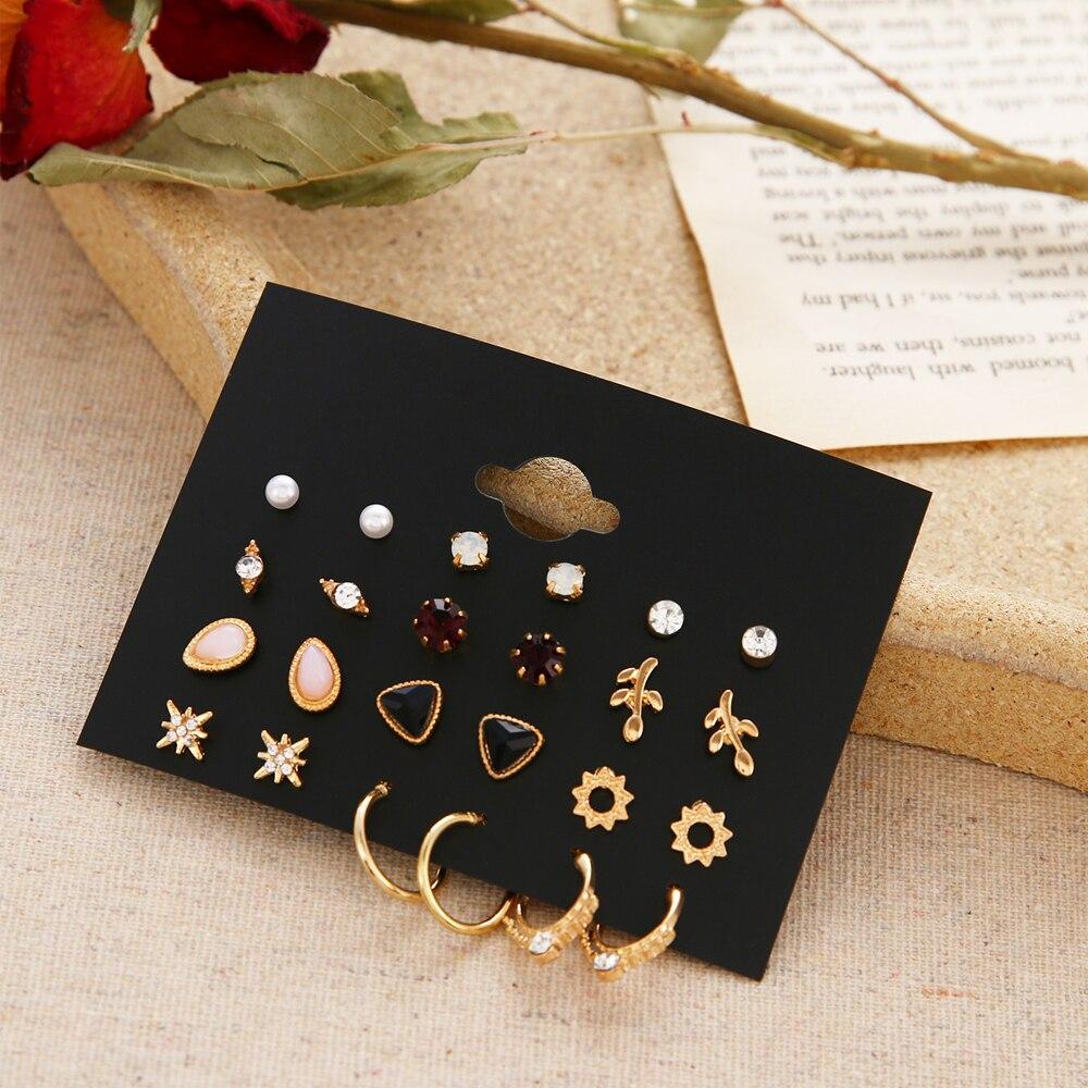 EN 12 Pairs Flower Women'S Earrings Set Pearl Crystal Stud Earrings Boho Geometric Tassel Earrings For Women 2020 Jewelry Gift