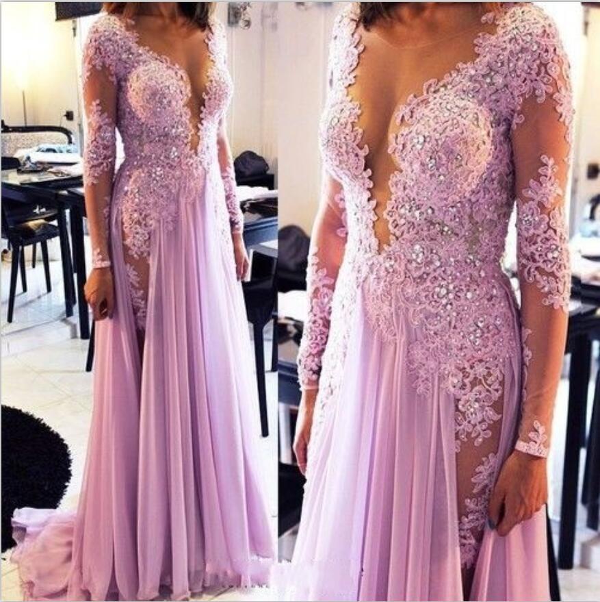 Elegant Scoop Sheer Top Lavender Vestido De Noche Lace And Chiffon Evening Dress 2019 Long Sleeve Robe De Soiree Longue