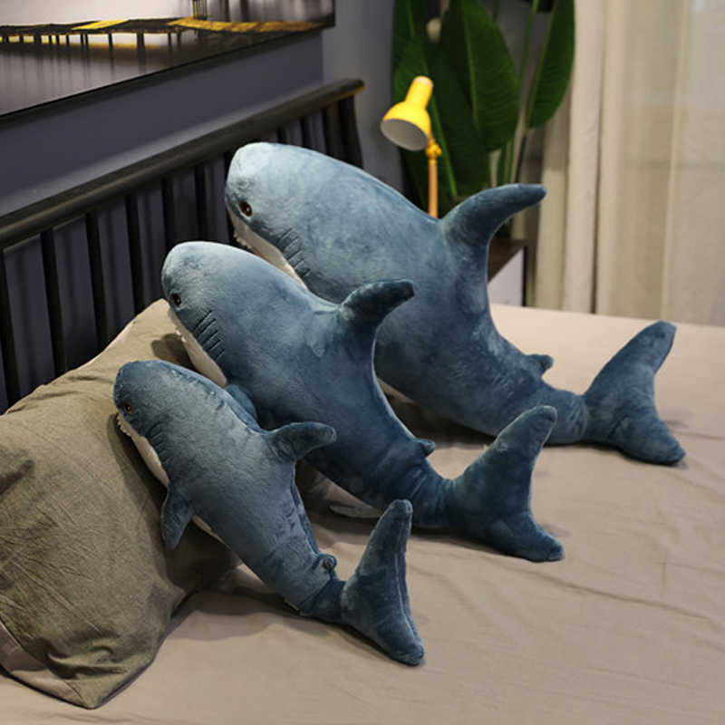 Juguetes de felpa de tiburón almohada para dormir Popular viaje juguete de compañía regalo tiburón lindo Animal de peluche almohada con pez juguetes para niños