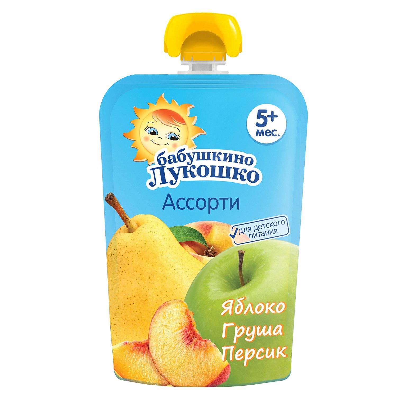 Пюре Бабушкино лукошко из яблок груш и персиков 90г с 5месяцев