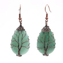 Kraft-beads Ethnic Style Copper Plated Wire Wrap Water Drop Green Aventurine Earrings Rock Crystal Jewelry(China)