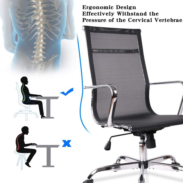 Home Office Chair, High Back Desk Chair Ergonomic Mesh Adjustable Task Computer Chairs with Rolling Casters 4