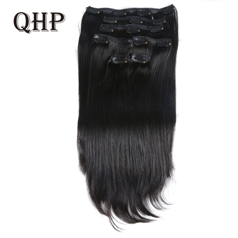 QHP Hair Brazilian Machine Made Remy Straight Hair 70G-120G Clip In Human Hair Extensions  7Pieces/Set Full Head Sets