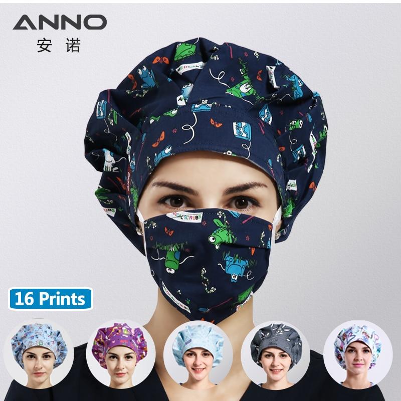 ANNO Brand Cotton Medical Scrubs Caps Dental Women Surgical Caps Cartoon Hospital Nurse Hat Clinic SPA Working Hat Accessories