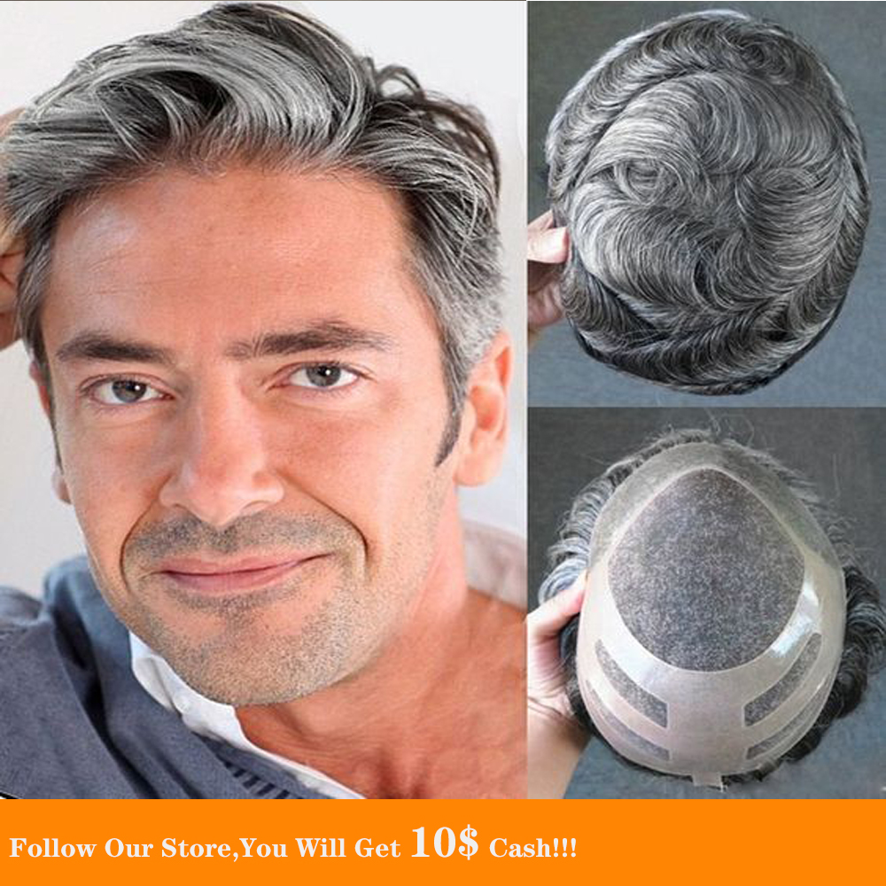 BYMC Fine Mono Mens 100% Grey Human Hair Toupee For Men Hairpiece Remy Indian Hair Mens Wig Replacements Soft Natural Looking