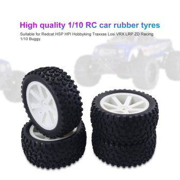 4PCS 1/10 RC Car Rubber Tyres Plastic Wheels for Redcat HSP HPI Hobbyking Traxxas Losi VRX LRP ZD Racing 1/10 Buggy 4pcs 1 8 rc car rubber tyres plastic wheels for redcat team losi vrx hpi kyosho hsp carson hobao 1 8 buggy on road car