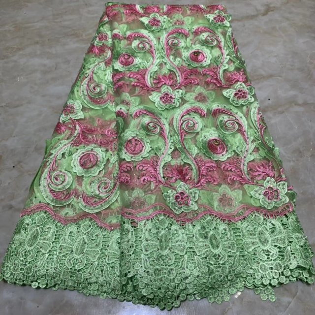 Green 2019 Veritable French Lace Swiss Tulle Lace Fabric Floral Embroidery African Nigerian Sewing High Quality For Lace Dress