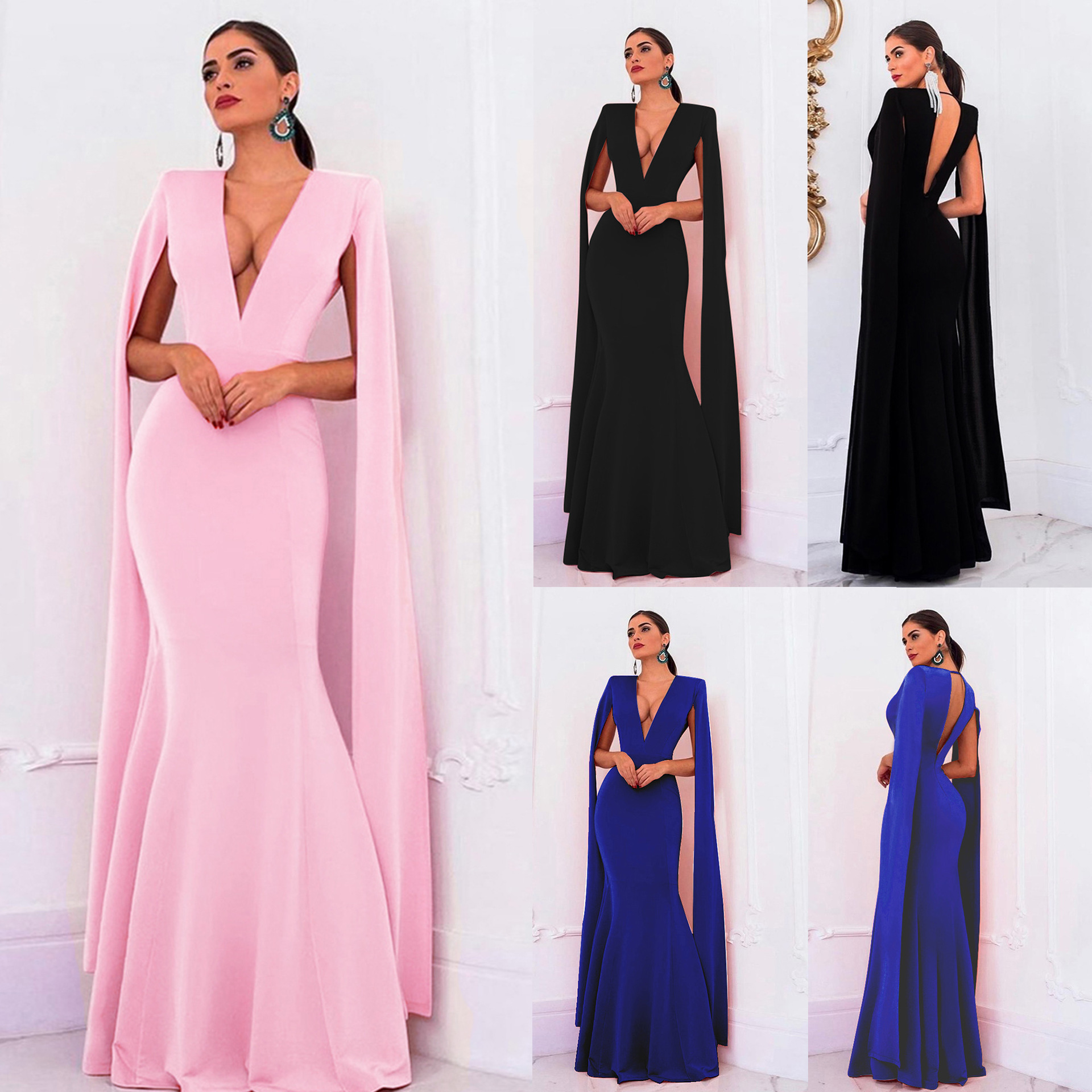 European Style Ladies Cold Shoulder Sexy Bodycon Fishtail Long Dress Mermaid V Neck Open Back With Shawl Slim Elegant Evening
