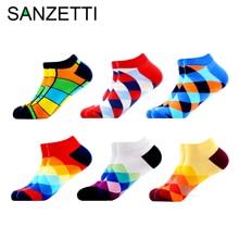 SANZETTI 6 12 Pairs/Lot 2020 Men Summer Happy Combed Cotton Socks Casual Plaid Striped Diamond Socks Funny Colorful Dress Socks