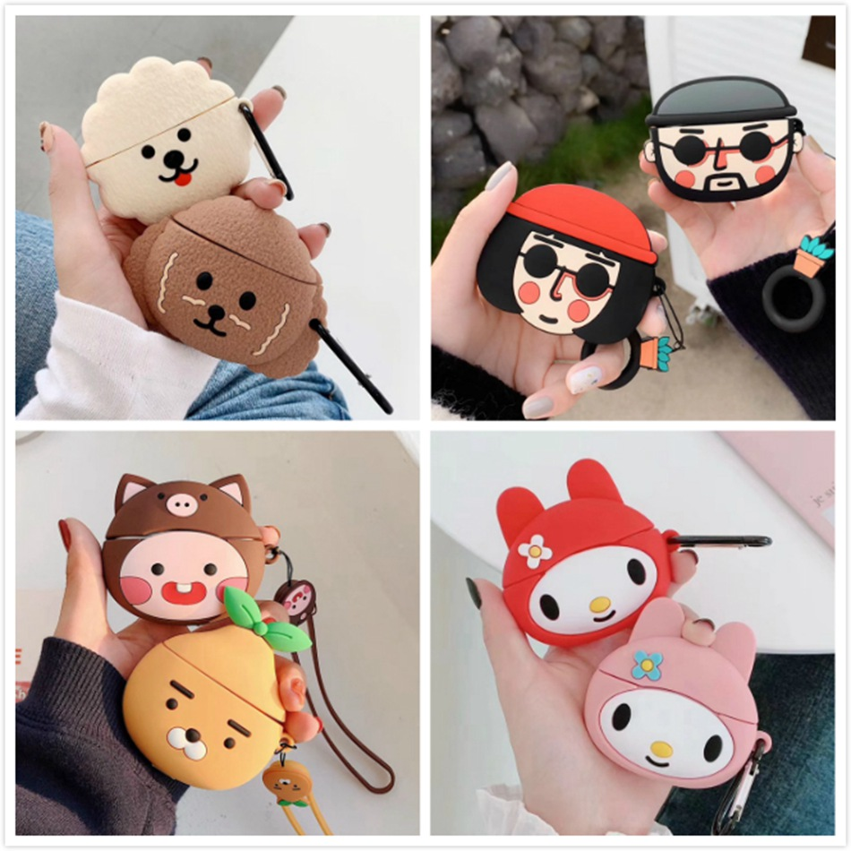 3D Earphone Case For Airpods Pro Case Silicone Whale Cat Cartoon Headphone/Earpods Cover For Apple Air Pods Pro 3 Case Keychain