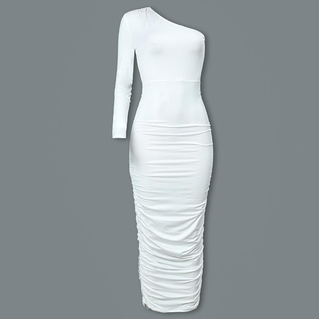 Women Elegant Fashion Sexy White Cocktail Party Slim Fit Dresses One Shoulder Belted Ruched Design Bodycon Midi Dress 5