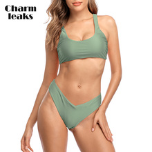 Charmleaks Women Bikini Set Solid Color Swimsuit Sexy Swimwear Bathing Suit Triangle Cutout Beachwear Push Up Sexy Bikini