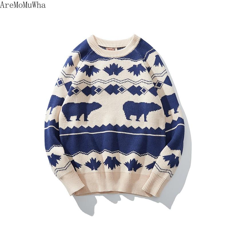 AreMoMuWha 2019 зима новый ретро скандинавский исландский ветер винтажный свитер рукава реглан SlimGreen мужские пуловеры QX1366 - 5