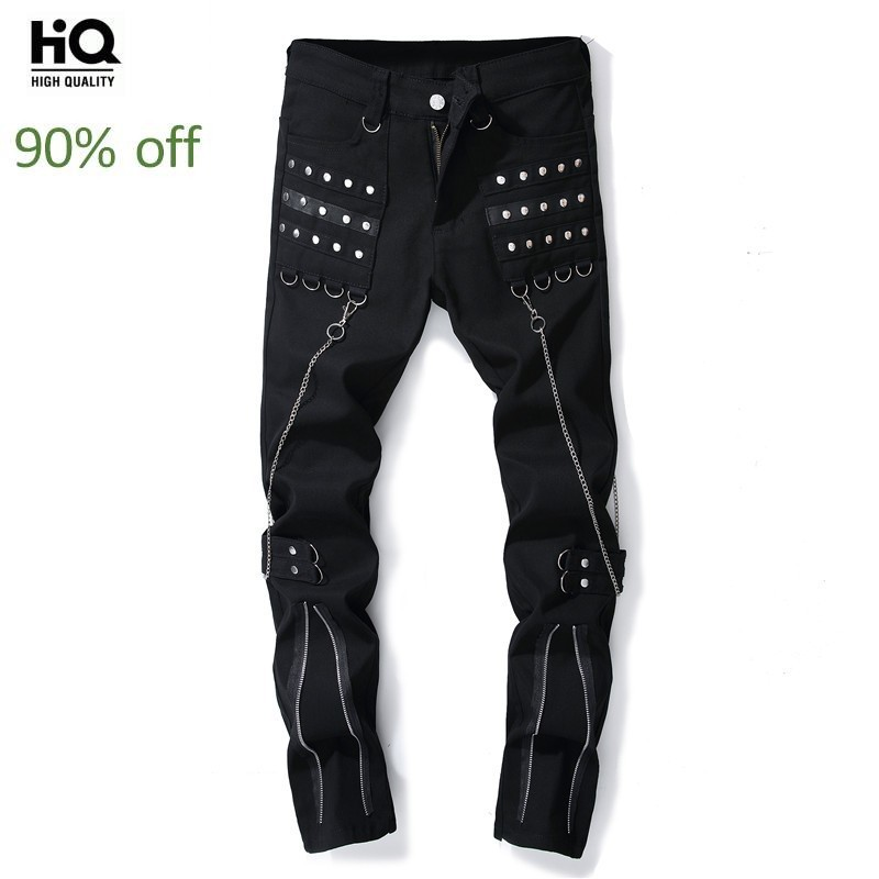 Jeans Men Casual Zipper Embroidered Flares Denim Punk Pants Black Personality Classic Straight Leg Moto Jeans Biker Trousers