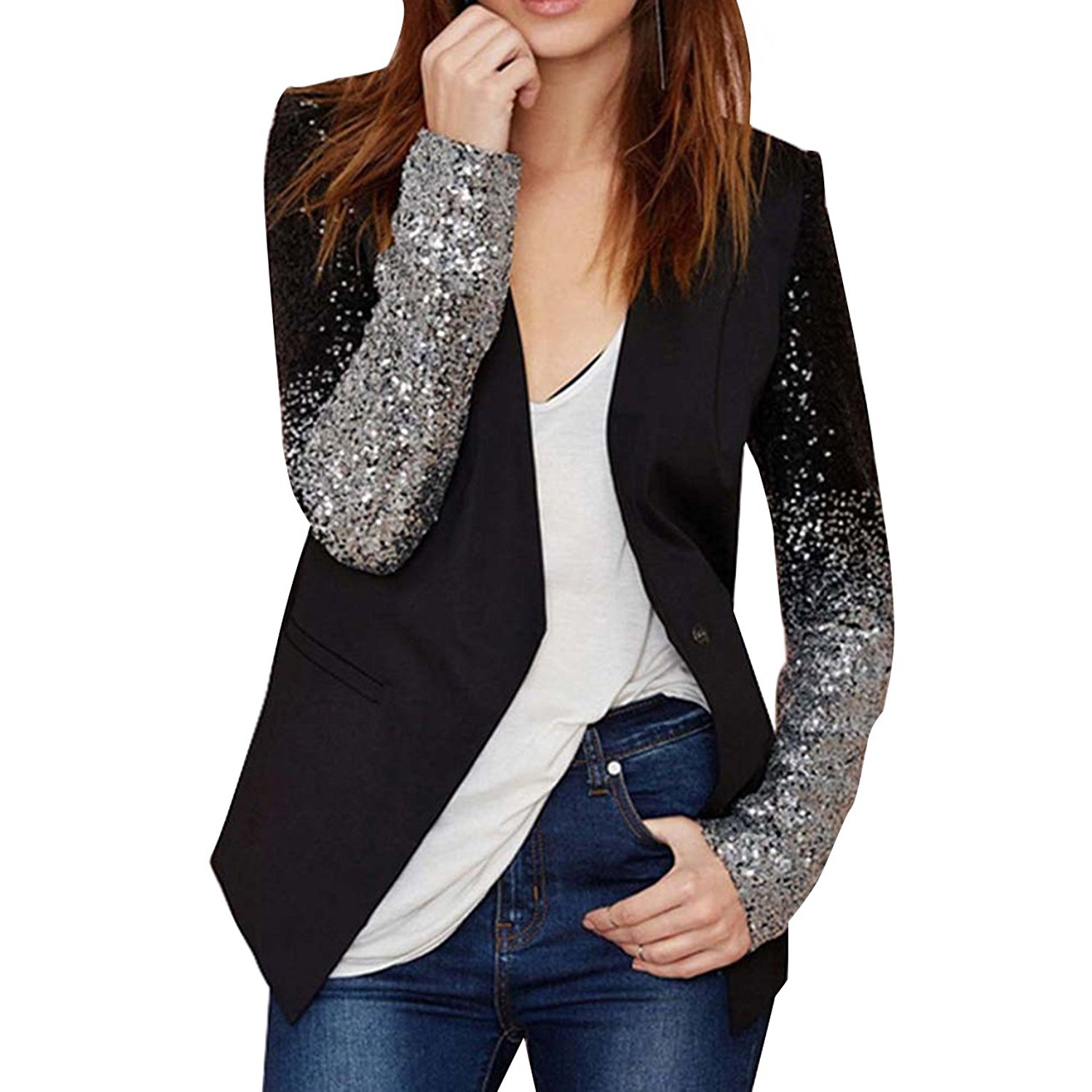 Fashion Women Black Silver Sequins Jackets Casual Ladies Slim Long Sleeve Jacket Sequined Cardigan Outwear Coat For Office Lady