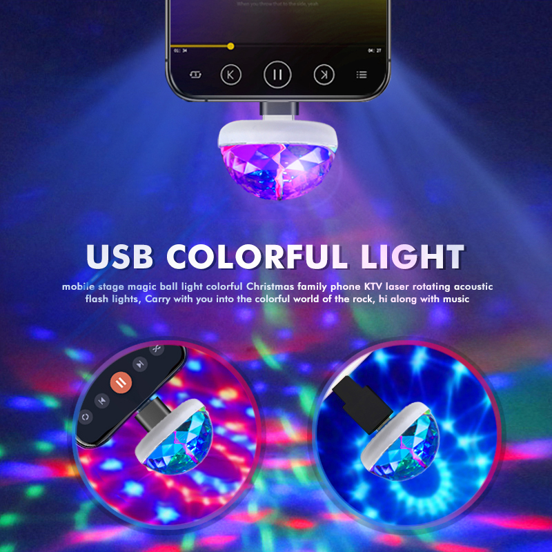USB Mini LED RGB Disco Magic Phone Ball Lamp Party Lights Disco Ball LED Car USB Atmosphere Light Christmas Decoration Light