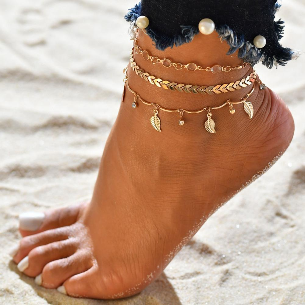 Bohemian 3Pcs/Set Women Leaves Multiple-layer Ankle Bracelet Anklet Foot Chain Summer Beach Anklet Set Jewelry Gift