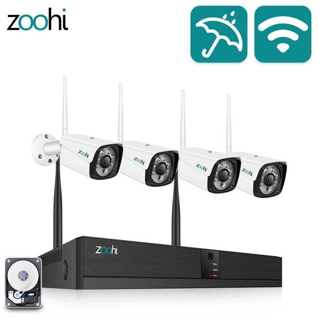 Zoohi CCTV מערכת אלחוטי מעקב מערכת ערכת 1080P 2MP אבטחת בית מצלמה מערכת חיצוני WIFI מצלמה אבטחת מערכת IR