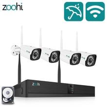Zoohi System CCTV bezprzewodowy System nadzoru zestaw 1080P 2MP System kamer do monitoringu domu zewnętrzne WIFI kamery systemu bezpieczeństwa na podczerwień