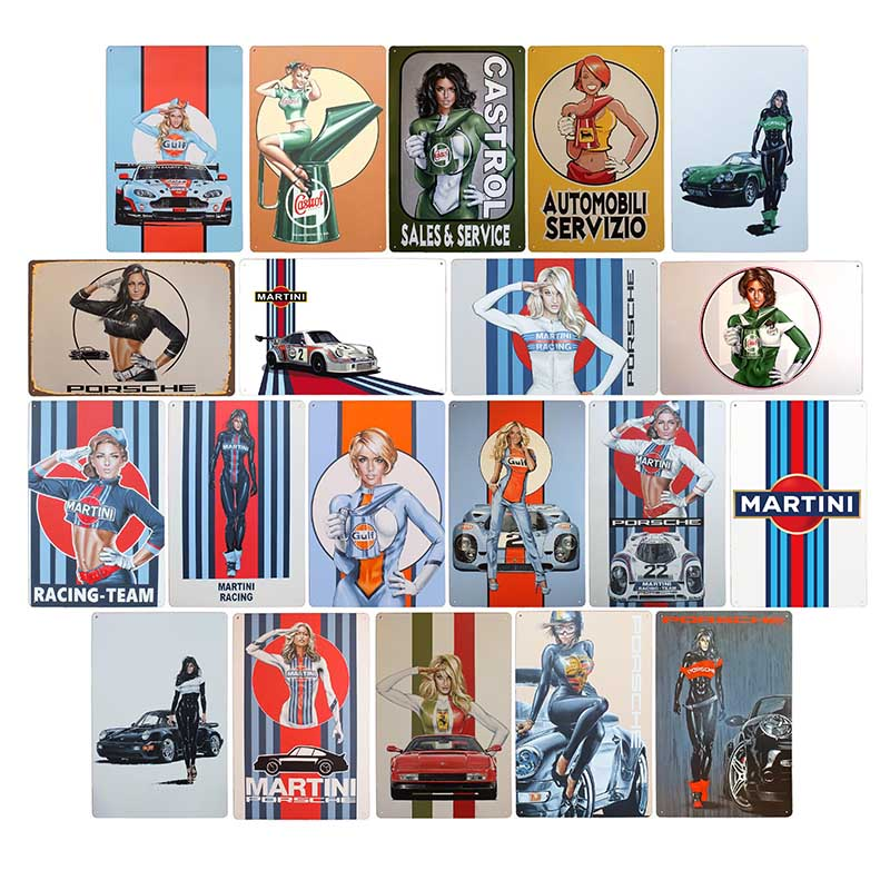Racing Team Motor Oil Vintage Metal Signs Martini Poster Retro Garage Gas Plaque Bar Cafe Pub Wall Decorative 20x30cm