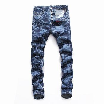 Printing New Trend Waterwash Low Waist and Small Foot Quality Night Shop Fashion Boutique D2 Jeans Trousers Men jeans