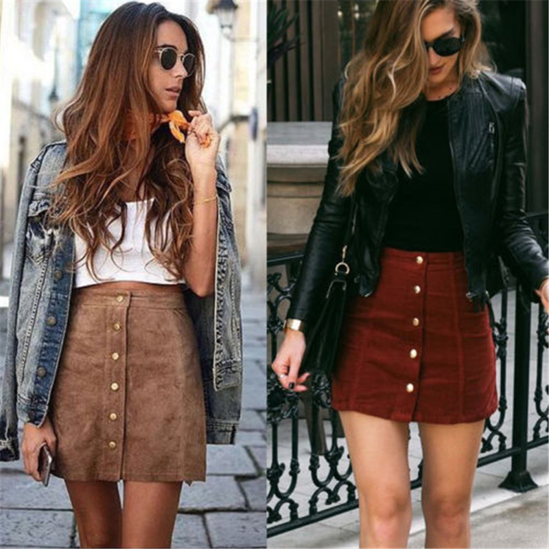 Women High Waisted Pencil Skirt Bodycon Button Suede Leather Short Mini Skirts Sexy Ladies Autumn Winter Skirts