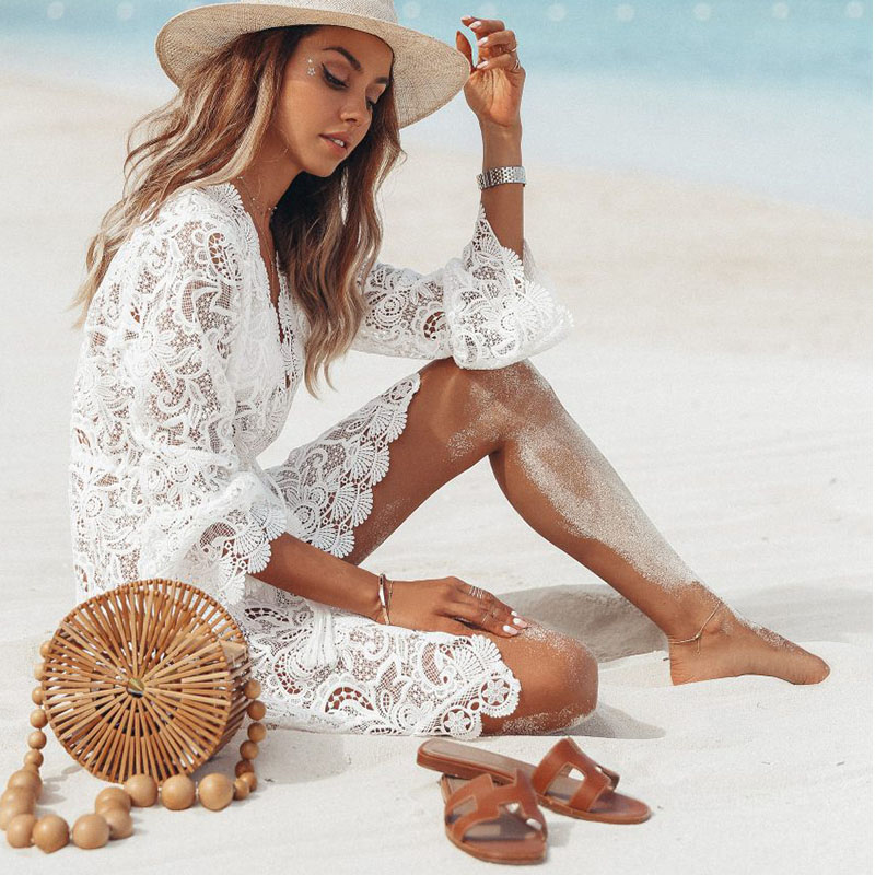 Sexy Cover Up Bikini Women Swimsuit Cover-up Beach Bathing Suit Beach Wear Knitting Swimwear Mesh Beach Dress Tunic Robe