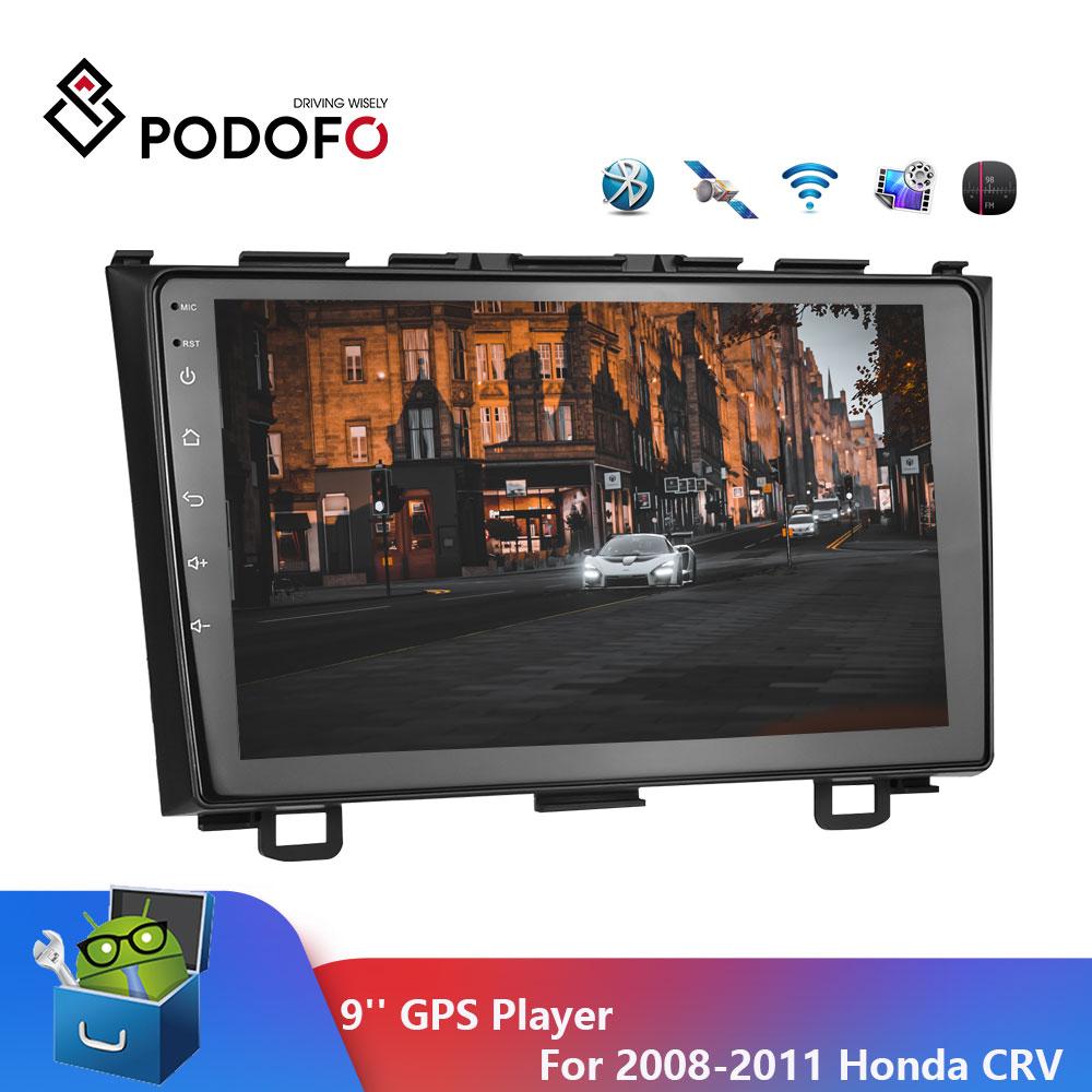 Podofo 2 din Android 9 cal Radio samochodowe multimedialny odtwarzacz wideo nawigacja GPS dla 2008-2011 Honda CRV Radio samochodowe Audio WIFI odtwarzacz