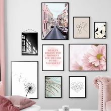 Pink Flower Dandelion Leaf Geometry Road Wall Art Canvas Painting Nordic Posters And Prints Pictures For Living Room Decor