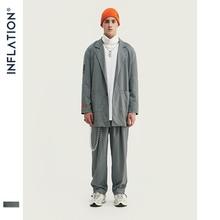 INFLATION Neue Ankunft Luxus Männer Blazer Lose Fit Fashion Streetwear Männer Anzug Grau Überprüfen Terno Masculino Blazer Männer Streetwear