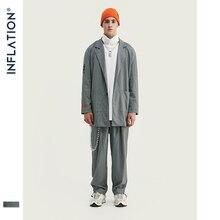 ¡Novedad! Chaqueta de lujo para hombre con inflación, a la moda ropa de calle holgada, traje para hombre, chaqueta de cuadros gris para hombre, ropa de calle para hombre