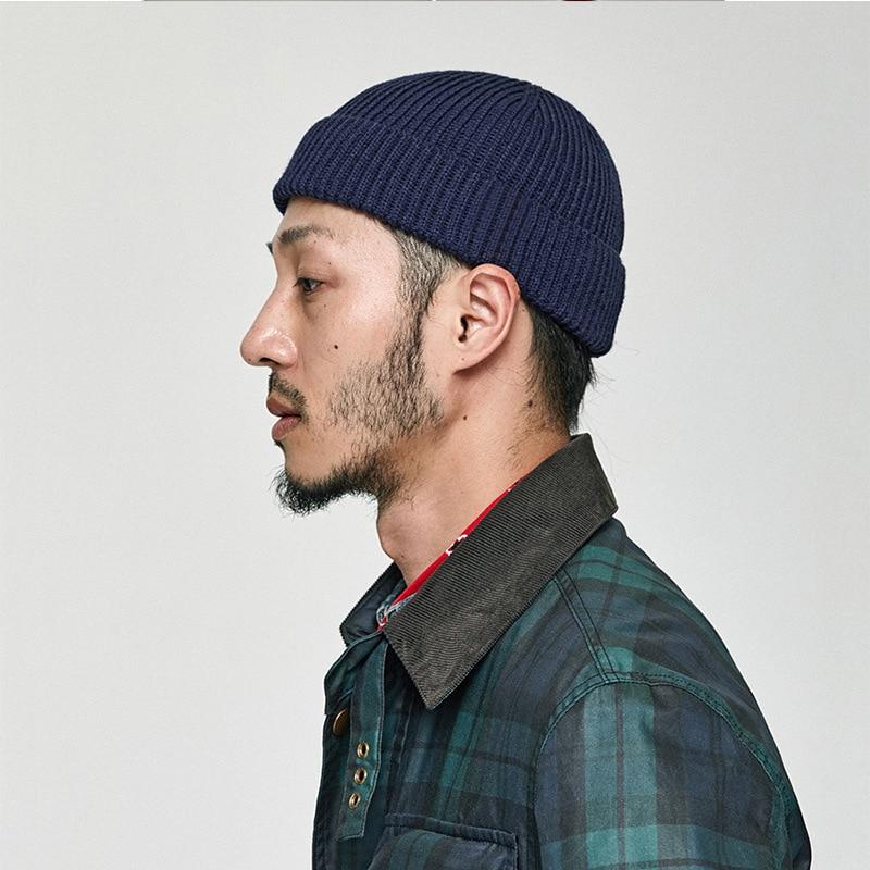 Зимняя вязаная шапка в стиле ретро, одноцветная шапка без полей, шапка в стиле хип-хоп, кепка с черепом, уличная Кепка для мужчин и женщин, пов...