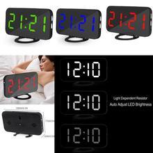 Двойной цифровой светодиодный часы Повтор зеркало будильник время ночной режим большие часы температура календарь функция повтора с usb-кабелем