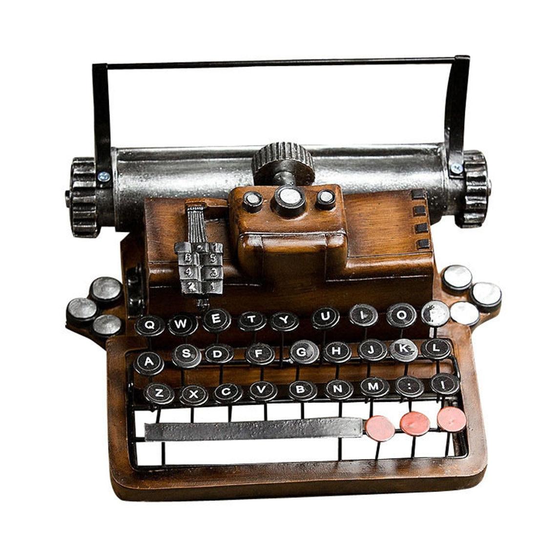 Retro Metal Typewriter Model Home Decor Crafts Objects Vintage Handicrafts Antique Typing Machine Home Decoration Crafts Gift